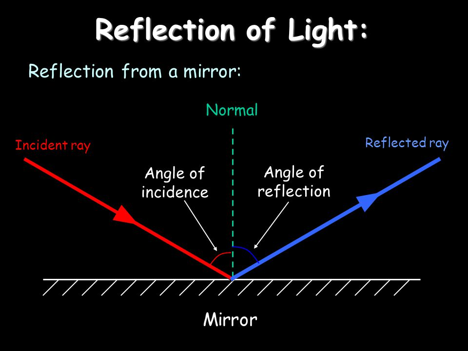 Reflection of Light: Reflection from a mirror: Mirror Normal