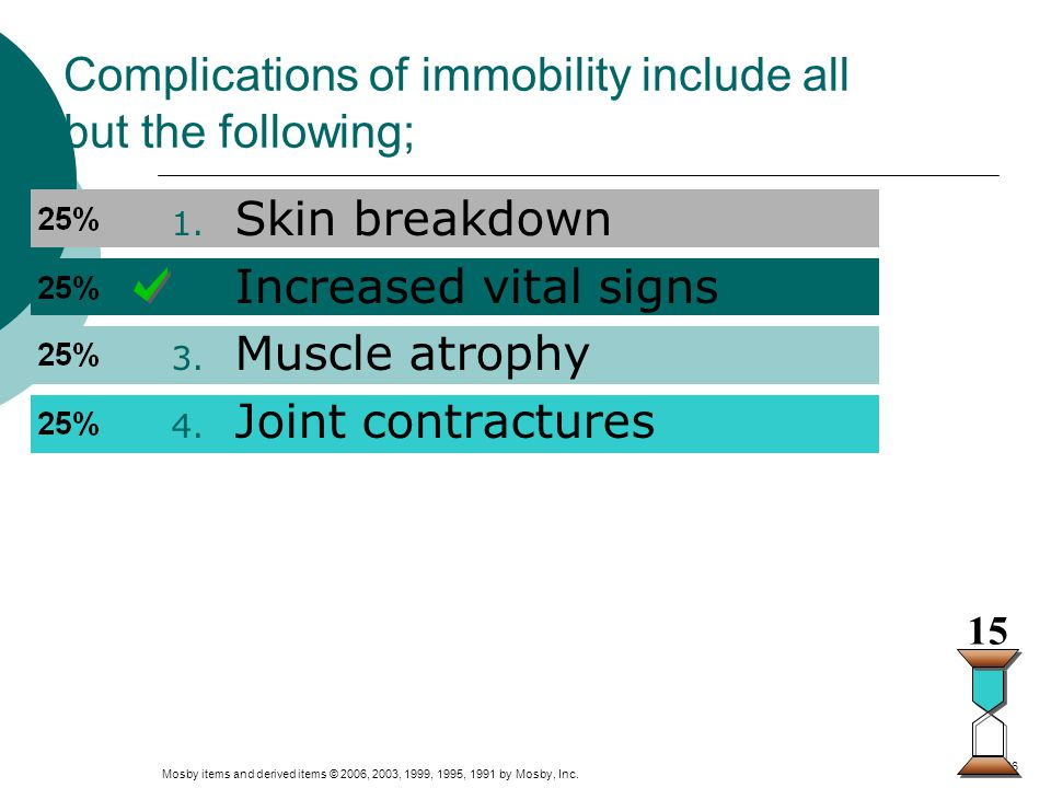 Complications of immobility include all but the following;