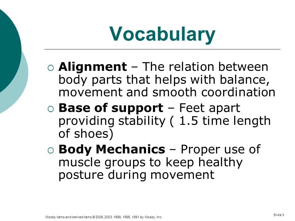 Vocabulary Alignment – The relation between body parts that helps with balance, movement and smooth coordination.