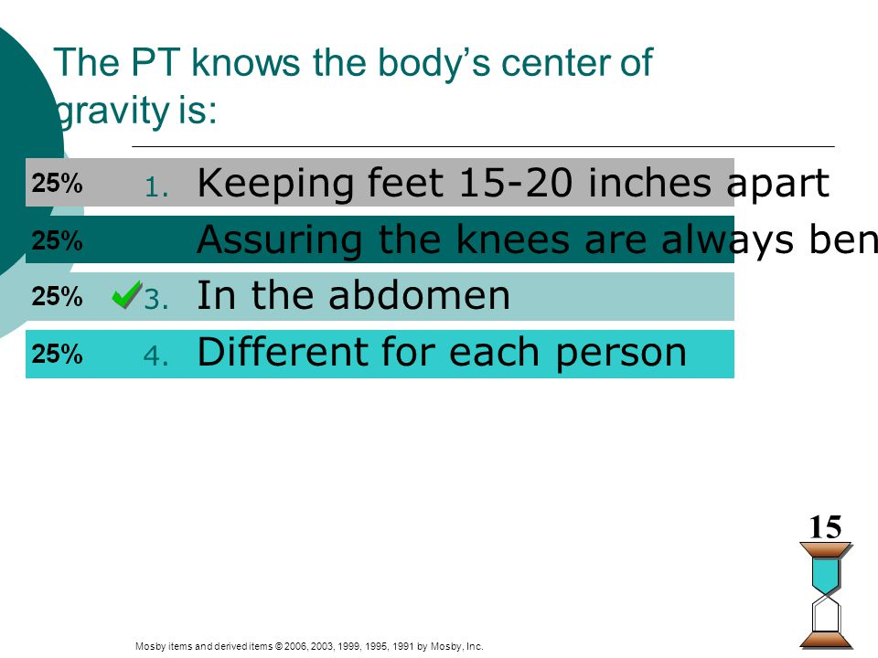 The PT knows the body's center of gravity is: