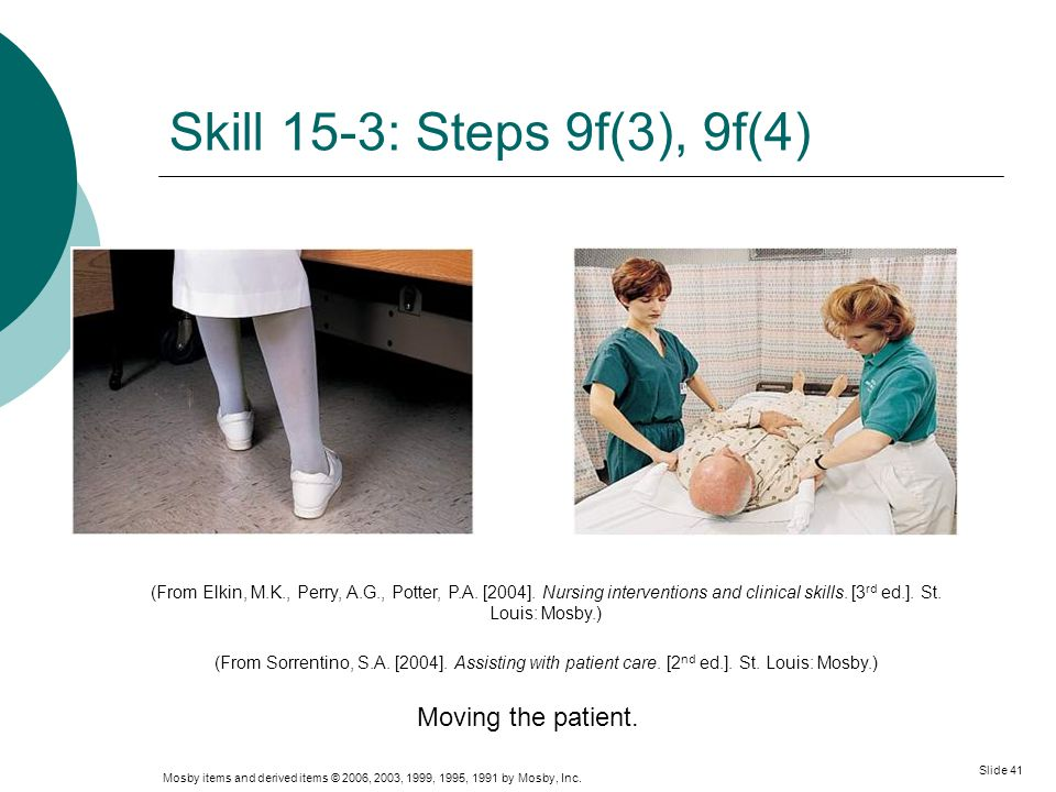 Skill 15-3: Steps 9f(3), 9f(4) Moving the patient.