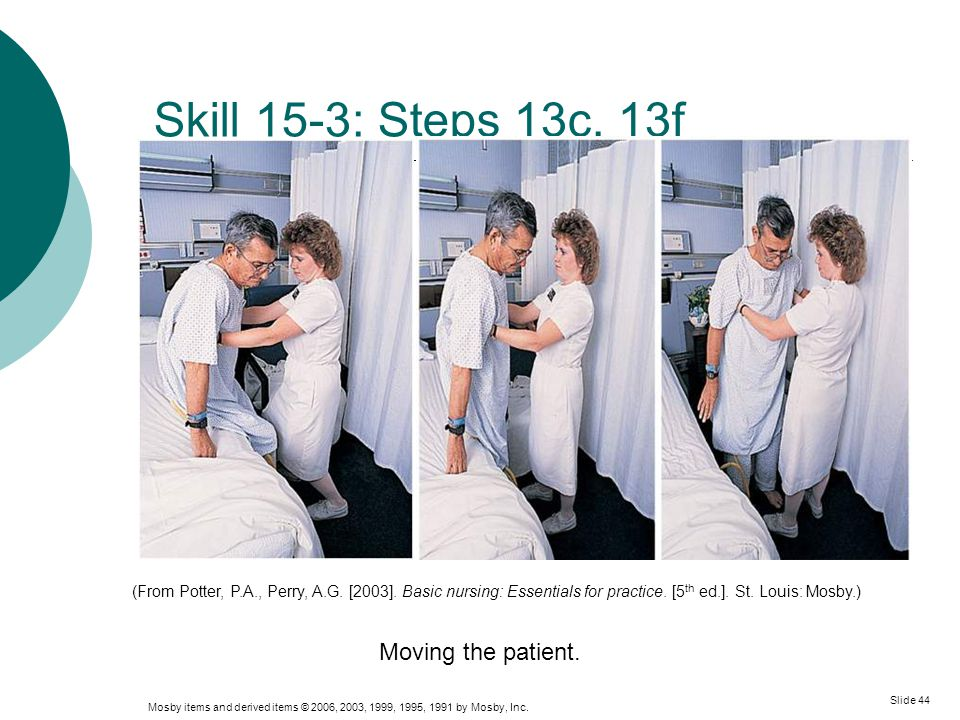 Skill 15-3: Steps 13c, 13f Moving the patient.