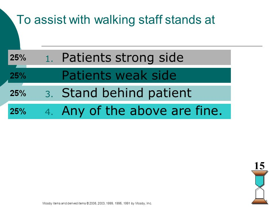 To assist with walking staff stands at