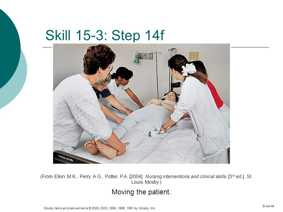 Skill 15-3: Step 14f Moving the patient.