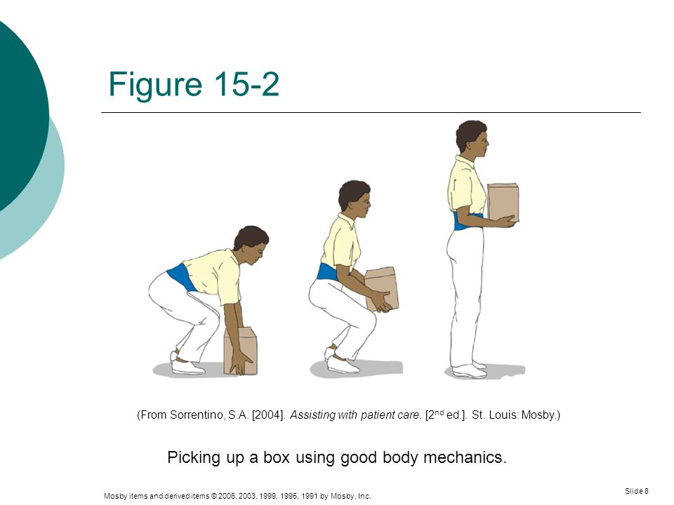 Picking up a box using good body mechanics.