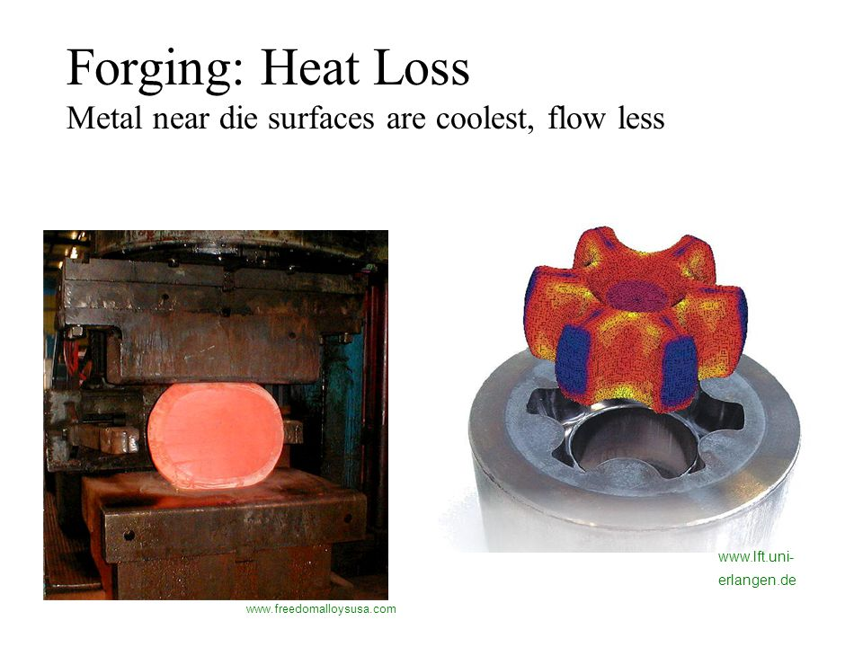 Forging: Heat Loss Metal near die surfaces are coolest, flow less