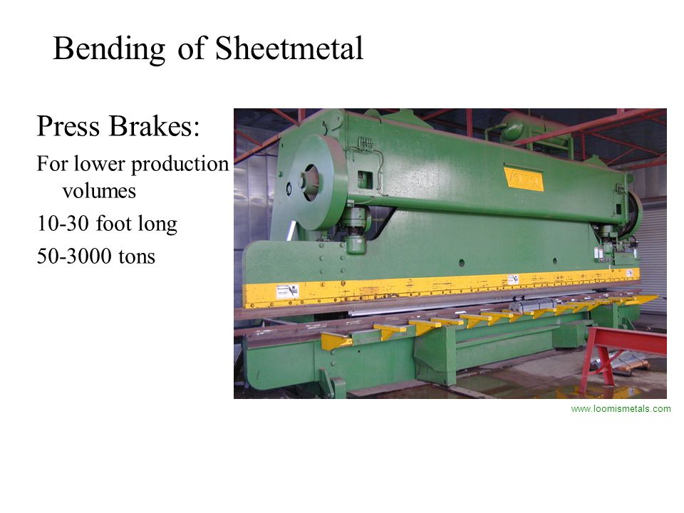 Bending of Sheetmetal Press Brakes: For lower production volumes