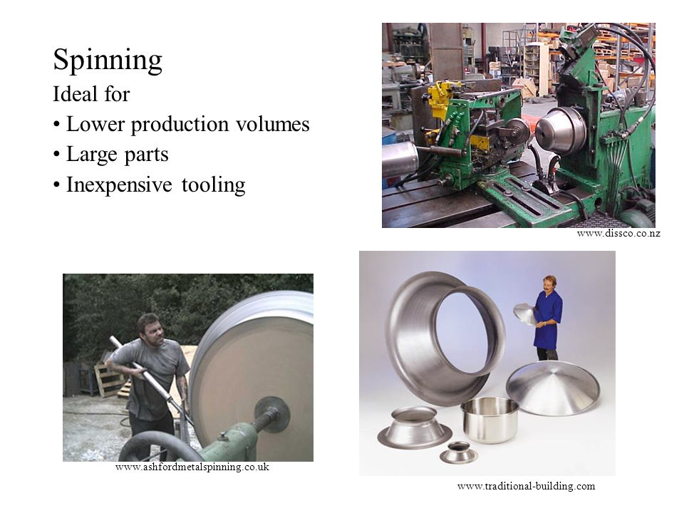 Spinning Ideal for Lower production volumes Large parts
