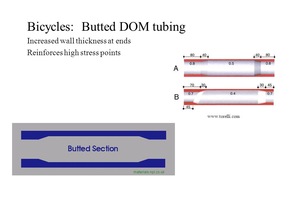 Bicycles: Butted DOM tubing