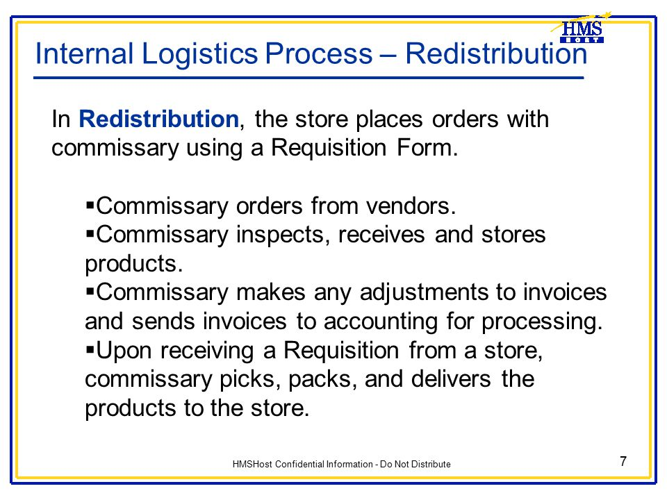 Internal Logistics Process – Redistribution