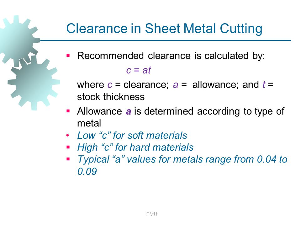 Clearance in Sheet Metal Cutting