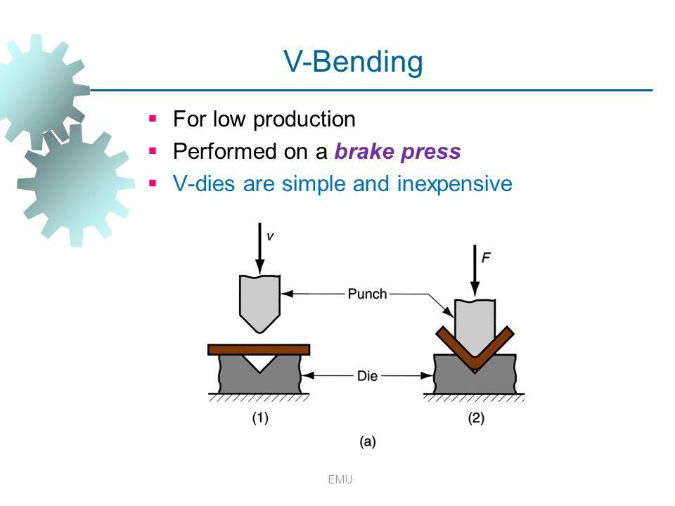 V-Bending For low production Performed on a brake press