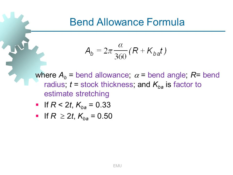 Bend Allowance Formula