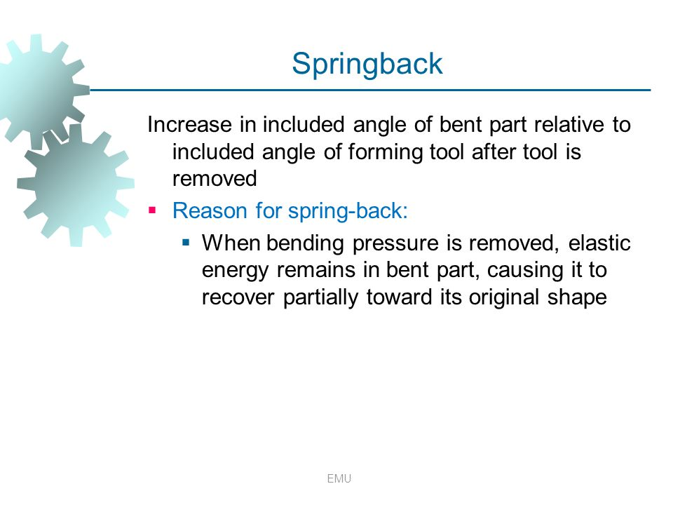 Springback Increase in included angle of bent part relative to included angle of forming tool after tool is removed.