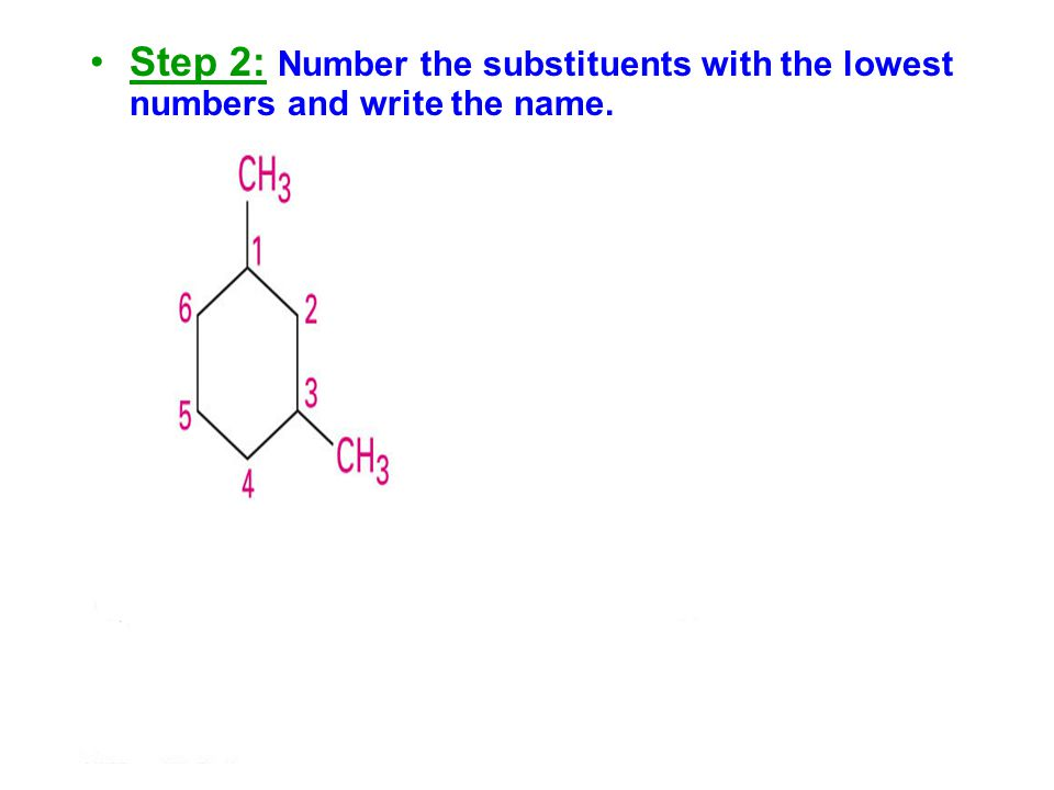 Step 2: Number the substituents with the lowest numbers and write the name.