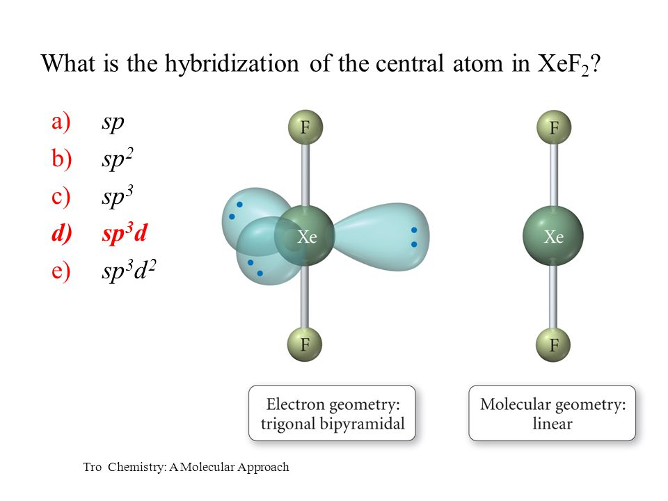 What is the hybridization of the central atom in XeF2