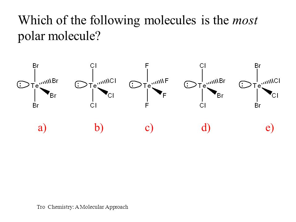Which of the following molecules is the most polar molecule