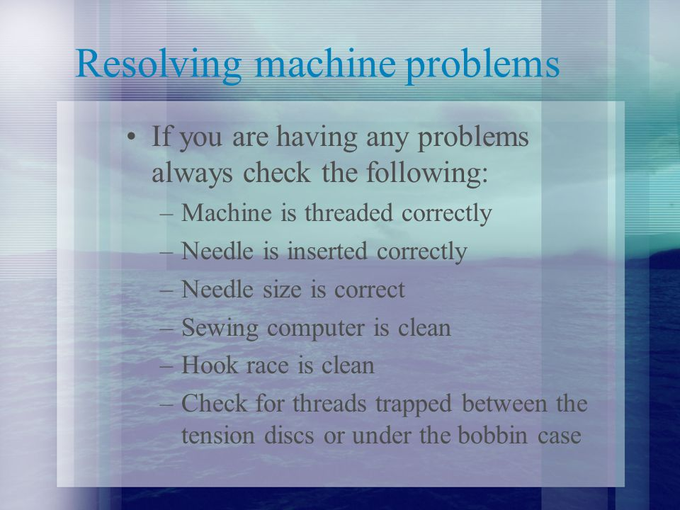 Resolving machine problems