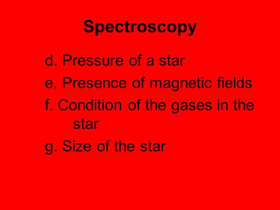 Spectroscopy e. Presence of magnetic fields