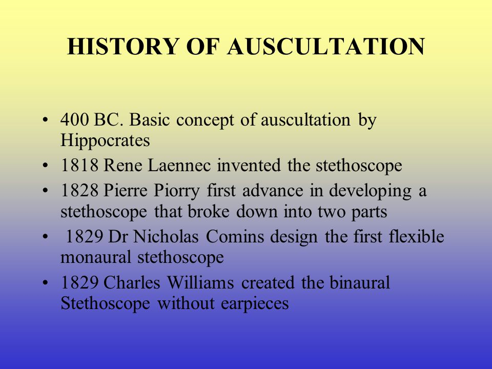 HISTORY OF AUSCULTATION