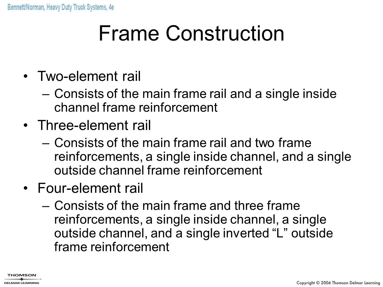 Frame Construction Two-element rail Three-element rail