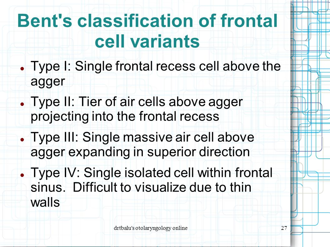Bent s classification of frontal cell variants