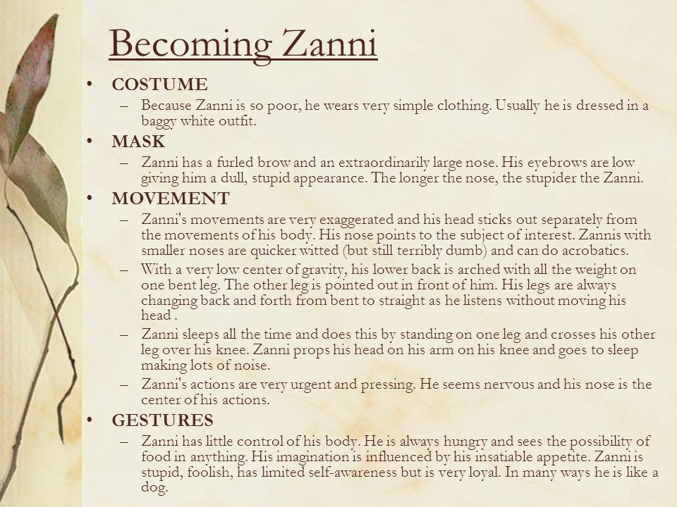 Becoming Zanni COSTUME MASK MOVEMENT GESTURES