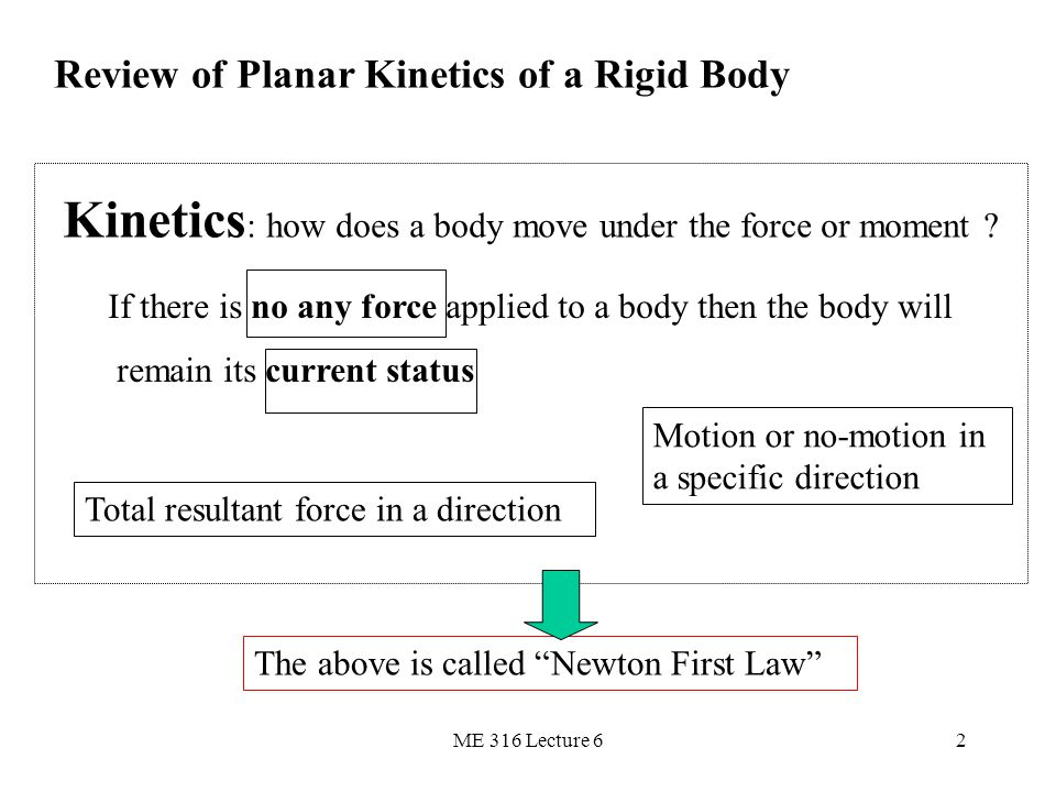 Kinetics: how does a body move under the force or moment