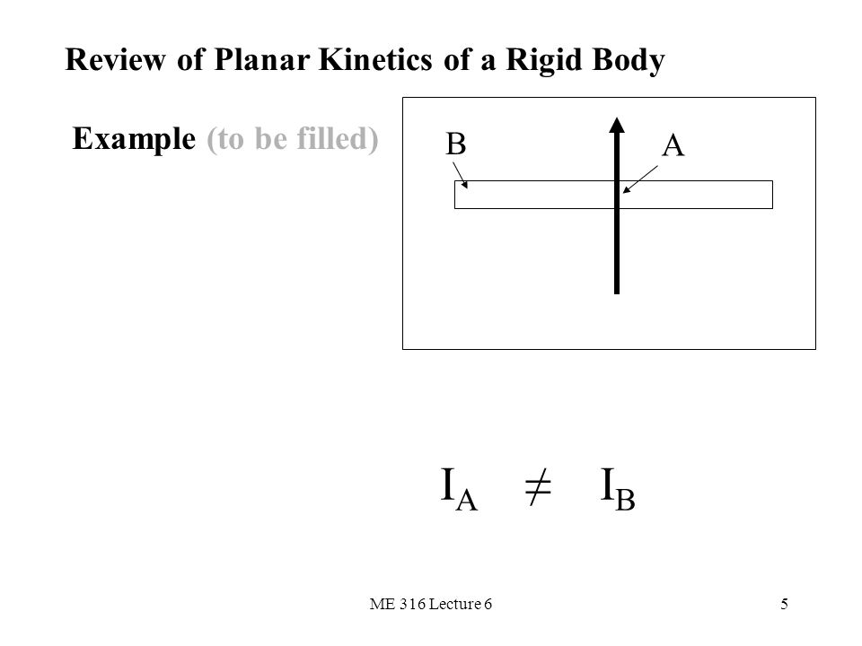 IA ≠ IB Review of Planar Kinetics of a Rigid Body