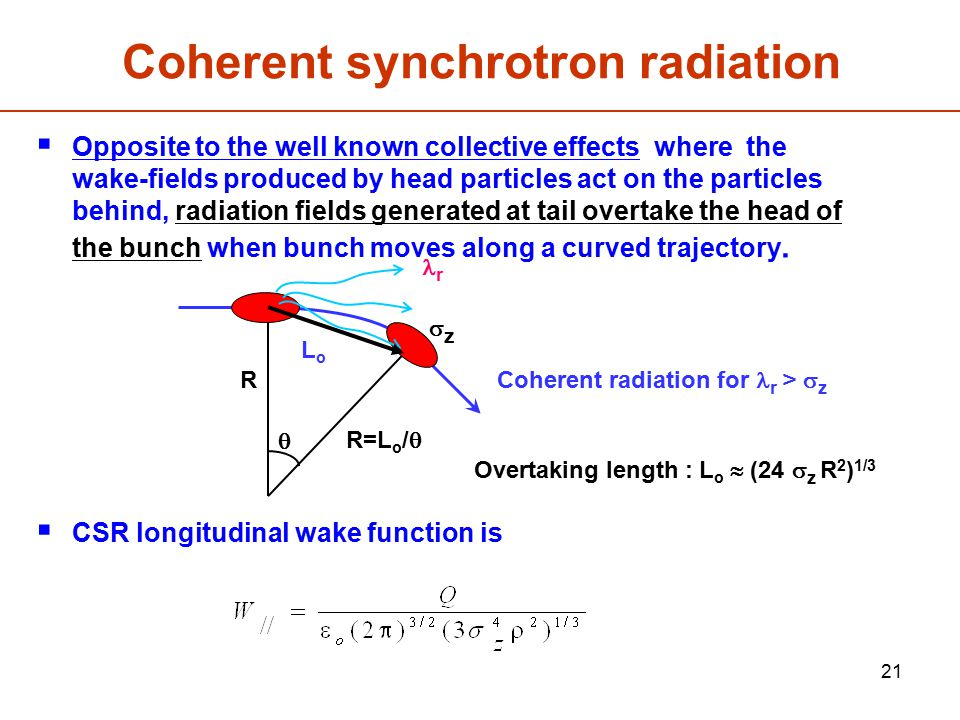 Coherent synchrotron radiation