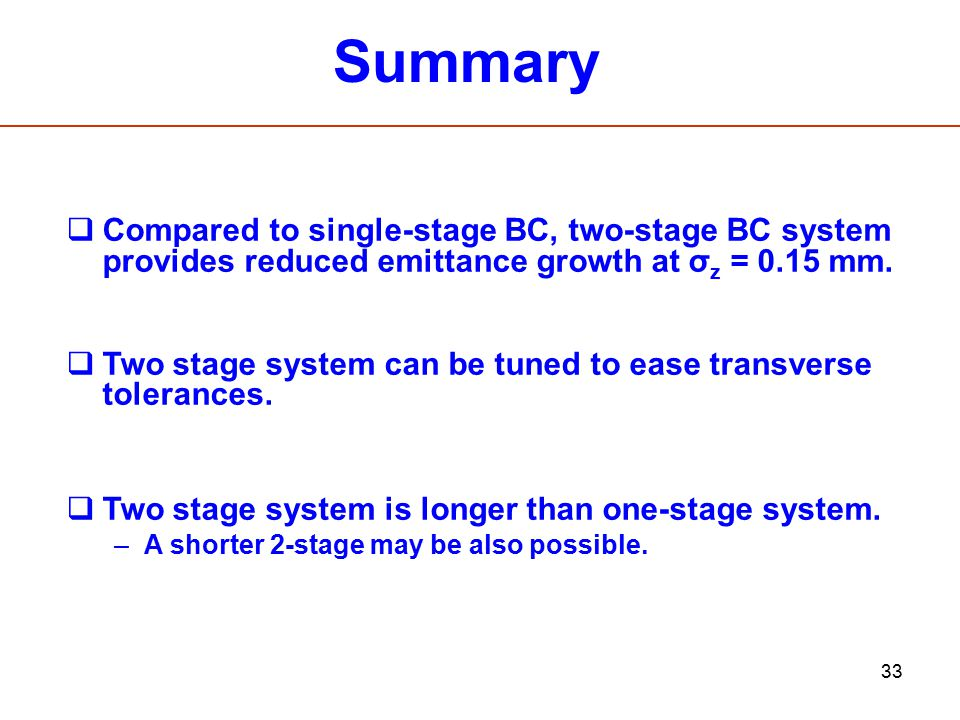 Summary Compared to single-stage BC, two-stage BC system provides reduced emittance growth at σz = 0.15 mm.