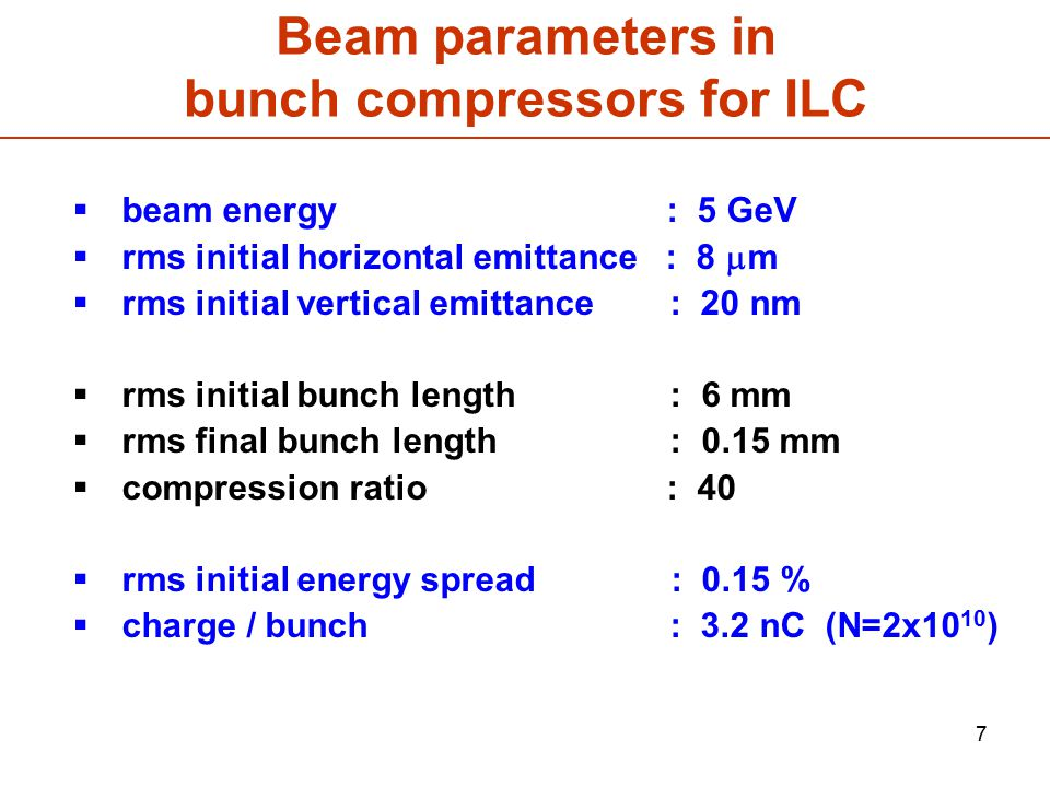 Beam parameters in bunch compressors for ILC