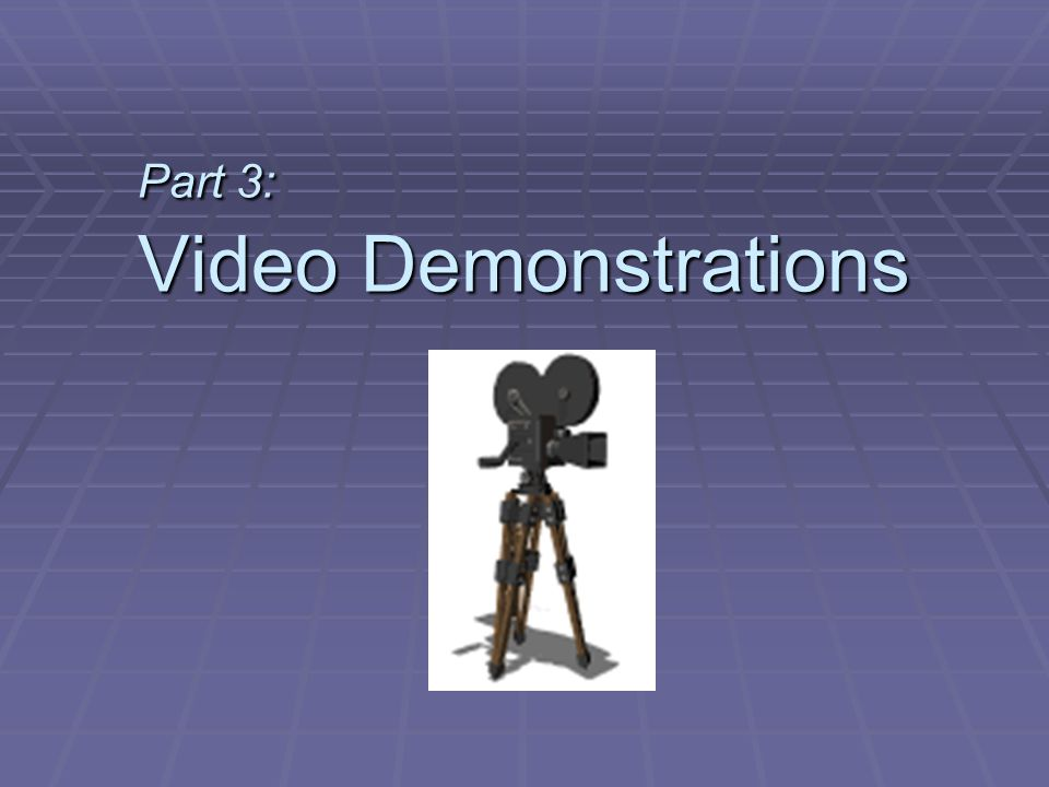 Part 3: Video Demonstrations