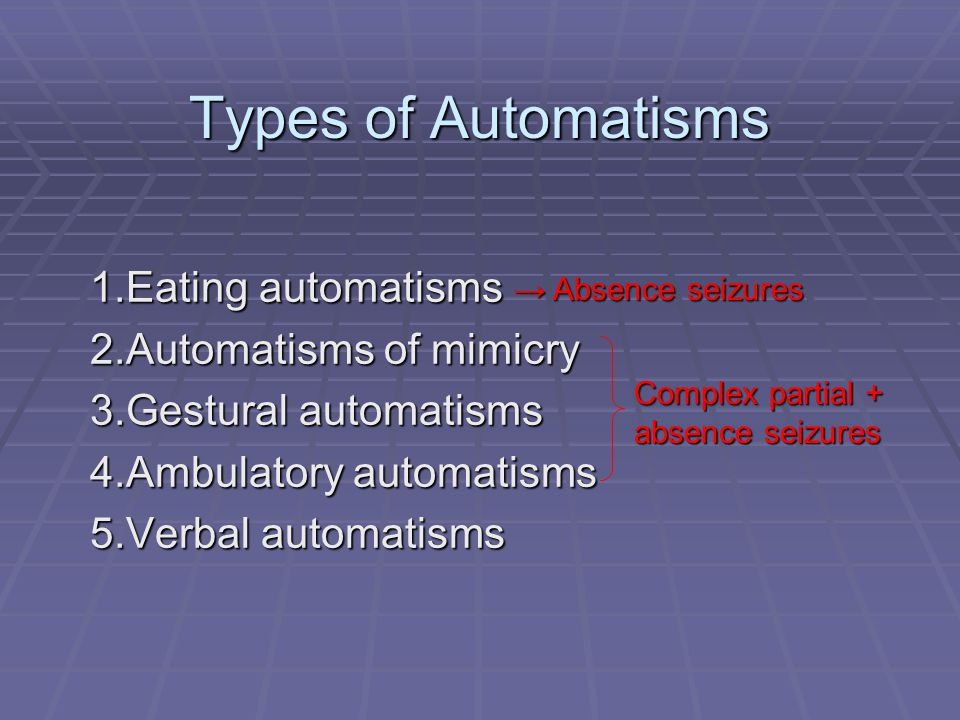 Types of Automatisms Eating automatisms Automatisms of mimicry