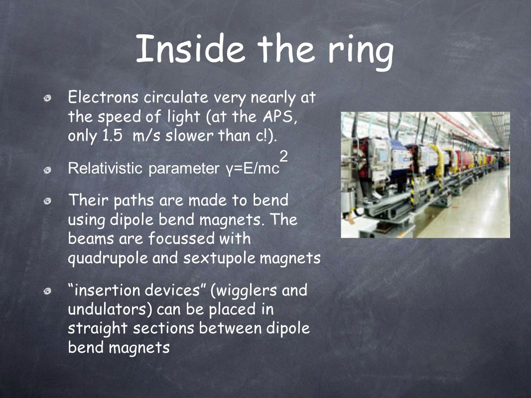 Inside the ring Electrons circulate very nearly at the speed of light (at the APS, only 1.5 m/s slower than c!).