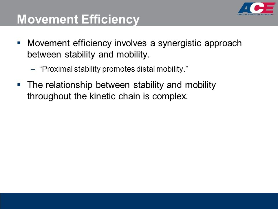 Movement Efficiency Movement efficiency involves a synergistic approach between stability and mobility.