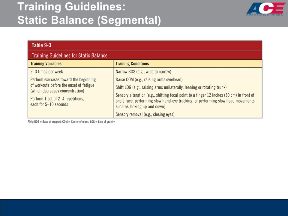 Training Guidelines: Static Balance (Segmental)