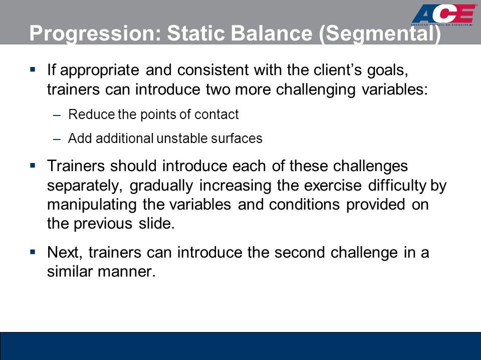 Progression: Static Balance (Segmental)