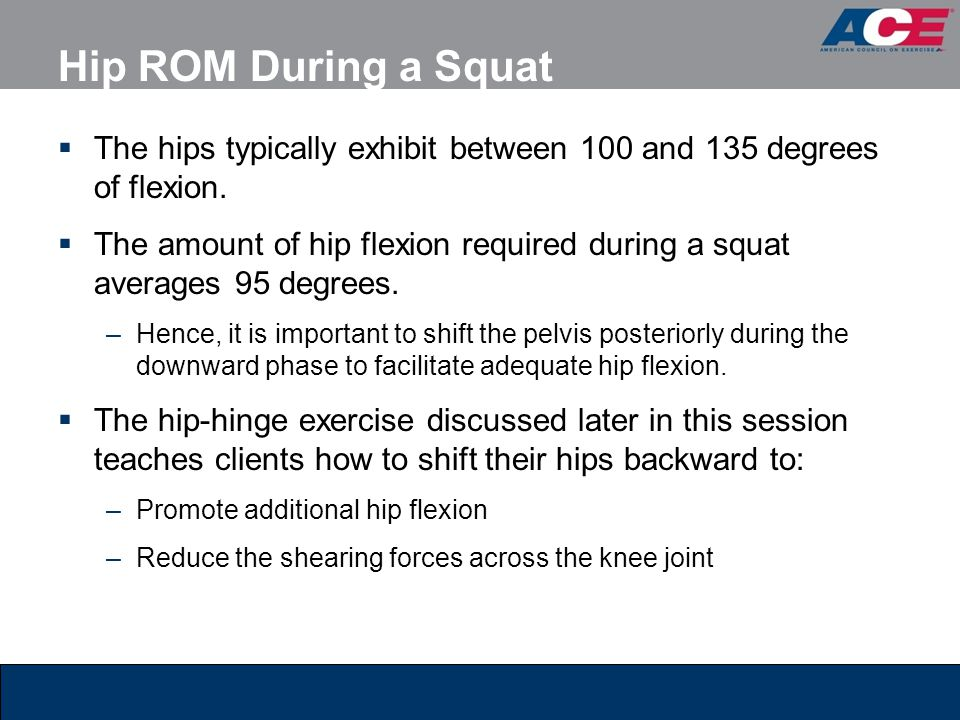 Hip ROM During a Squat The hips typically exhibit between 100 and 135 degrees of flexion.
