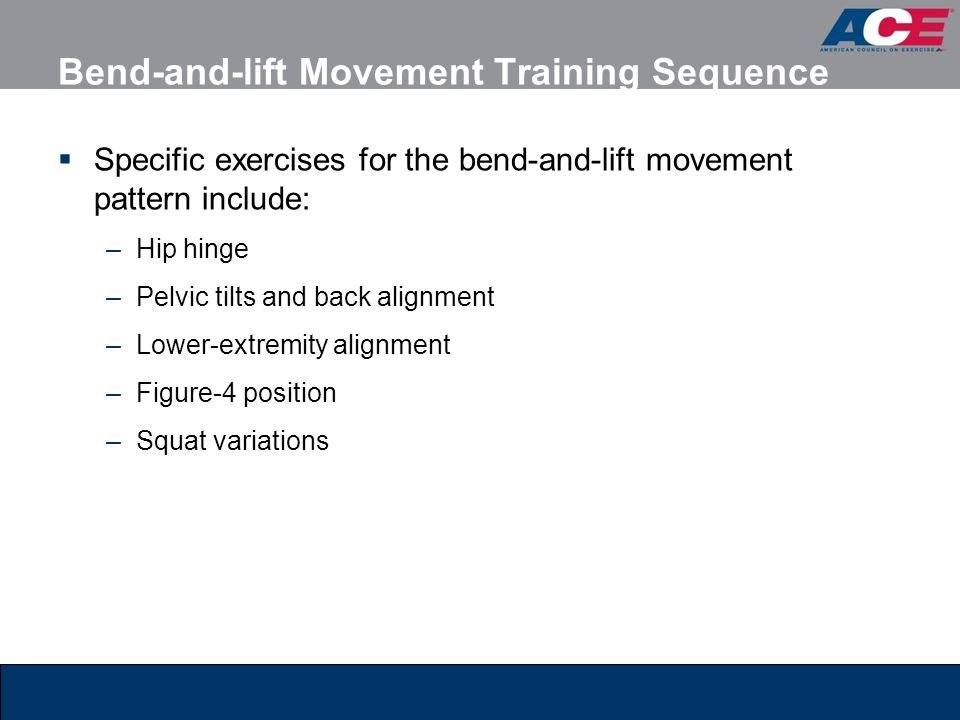 Bend-and-lift Movement Training Sequence