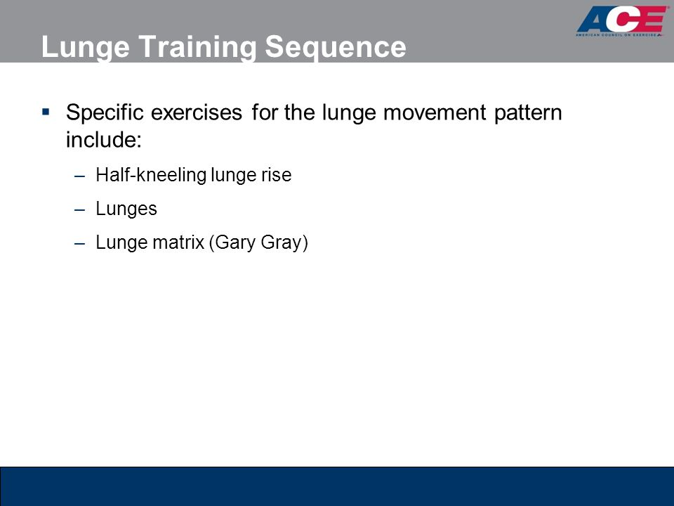 Lunge Training Sequence