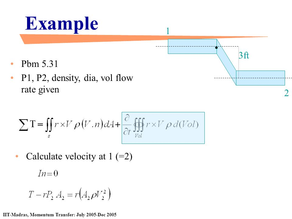 Example 1 3ft Pbm 5.31 P1, P2, density, dia, vol flow rate given 2