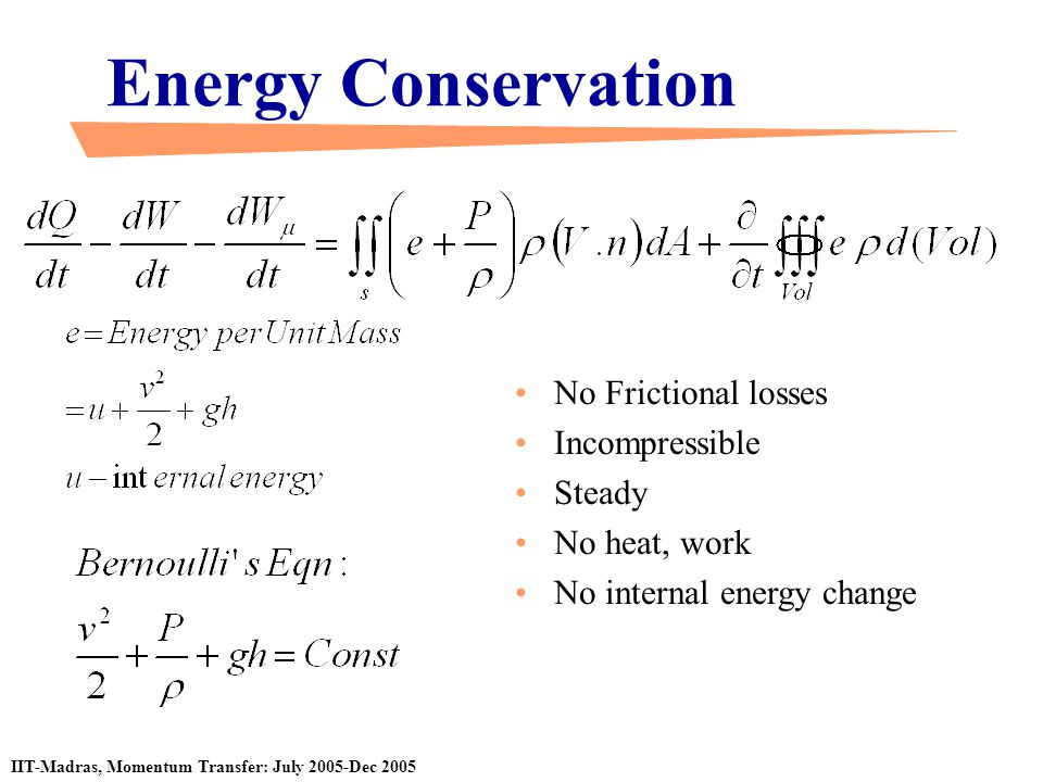 Energy Conservation No Frictional losses Incompressible Steady