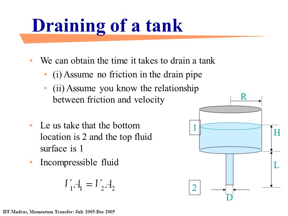 Draining of a tank We can obtain the time it takes to drain a tank