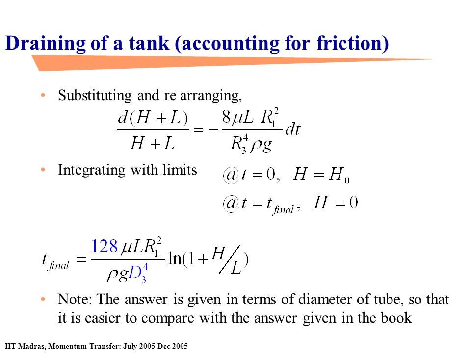 Draining of a tank (accounting for friction)