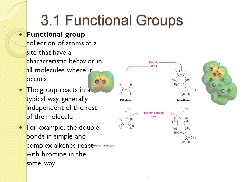 3.1 Functional Groups Functional group - collection of atoms at a site that have a characteristic behavior in all molecules where it occurs.