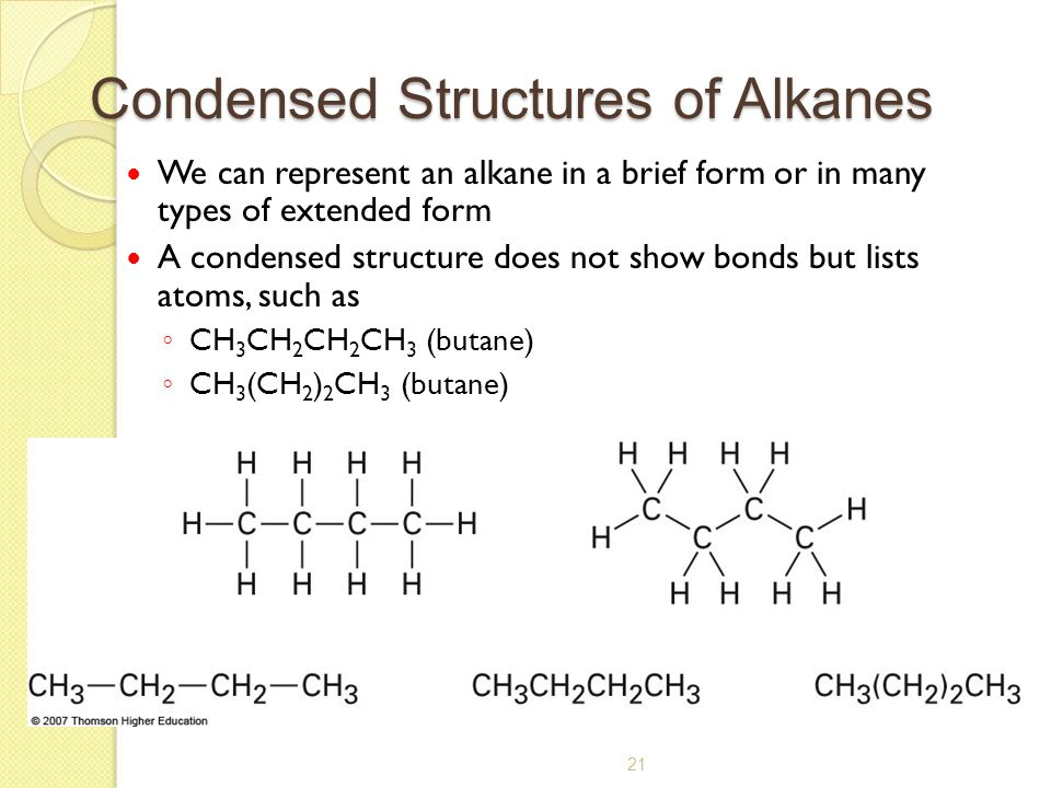 Condensed Structures of Alkanes