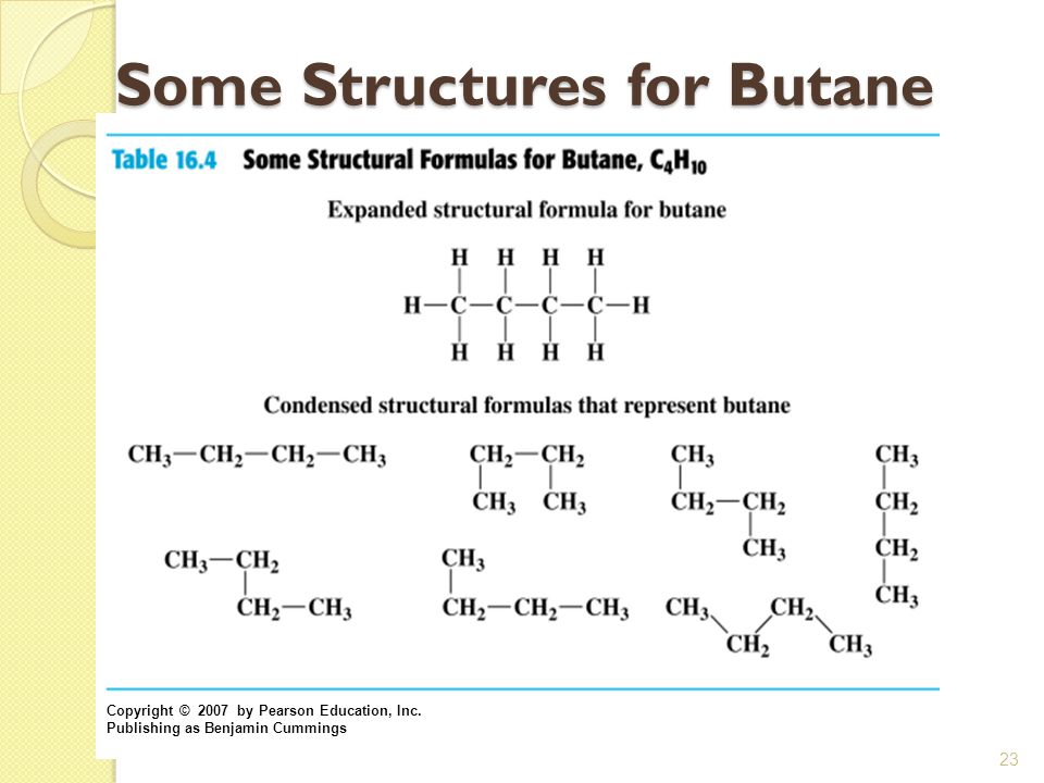 Some Structures for Butane