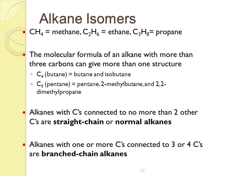 Alkane Isomers CH4 = methane, C2H6 = ethane, C3H8= propane