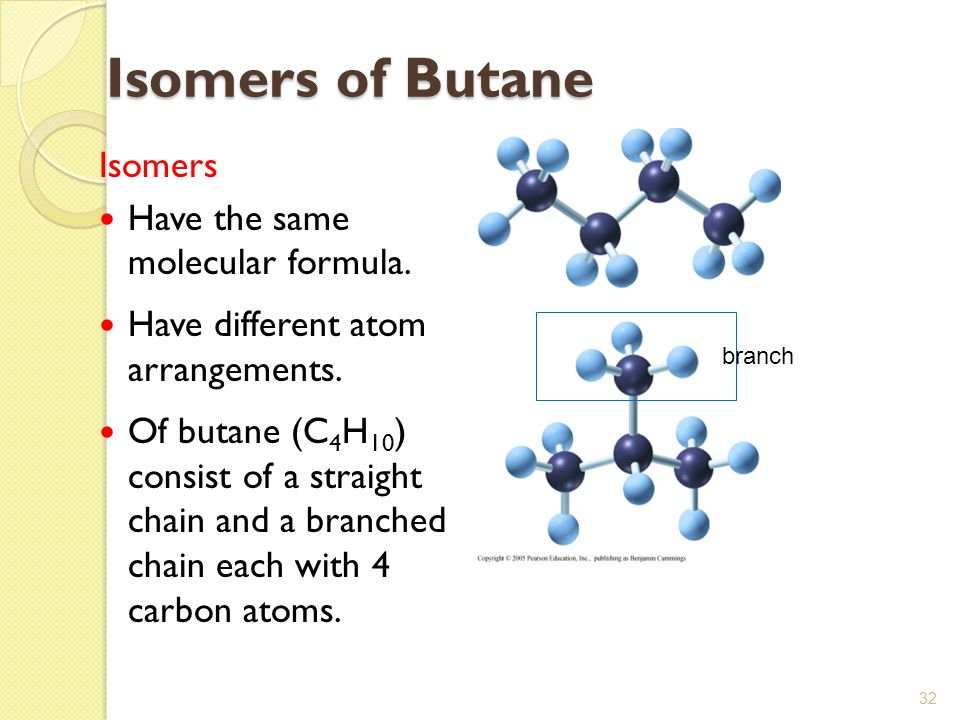 Isomers of Butane Isomers Have the same molecular formula.